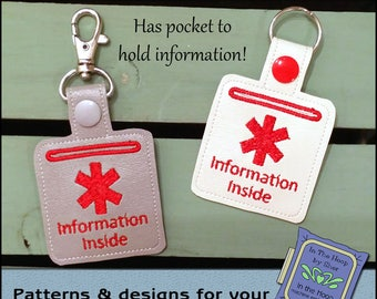 ITH Medical Alert Key Fob - Medical Alert Bag Tag - Vinyl Key Fob with Snap Tab - Machine Embroidery Design