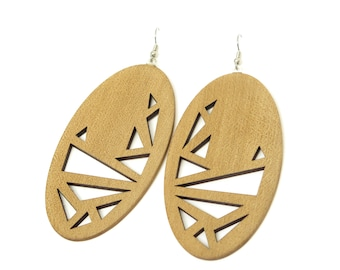 Abstract Chook (Large Tasmanian Sassafras wood earrings)
