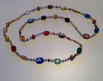 Multicoloured gold tone beaded necklace