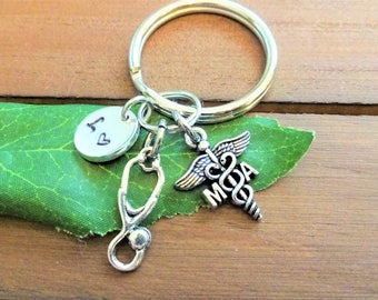 MA KEYCHAIN w initial charm - stethoscope, caduceus, medical assistant -  Choose a keyring or clasp from pix - write in notes box