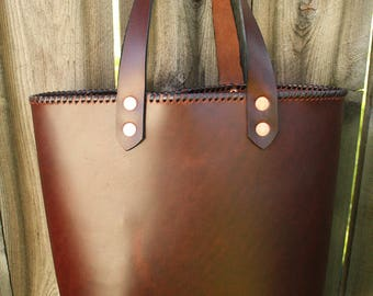 Strong Leather Tote Bag: Handmade in California
