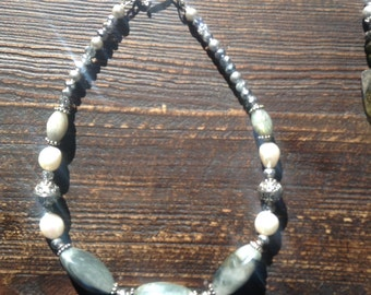 "Grey- green "" dolphin""  agate necklace with pearls and crystal..."