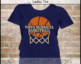Basketball Mom Shirt - Basketball Shirt, Glitter Basketball Laces, Basketball with Team Name Sparkle Bling Design