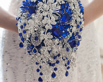 Cascading Brooch bouquet. Royal blue and Silver wedding broach bouquet, Jeweled Bouquet