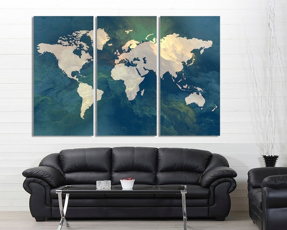 3 panel split abstract world map canvas print15 deep 3 panel split abstract world map canvas print15 deep framestriptych art for homeoffice wall decor interior design gumiabroncs Image collections