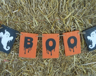 Primitive, Wood, Boo, Banner, Sign, Halloween, Wood Banner, Sign, Ghost,  Rustic, Primitive, Halloween, Sign