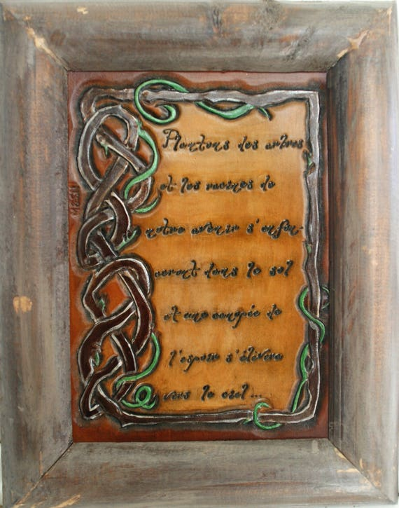 Painting, art on leather, wall decoration, Peace quote, Nobel prize, Nature, hope, future, Earth