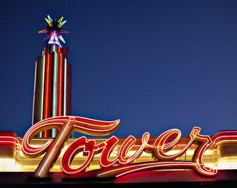 Tower Theatre, Fresno CA - 5x7 Photo - Neon Sign - Art Deco Movie Theatre