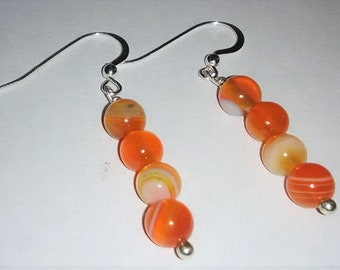 Sardonyx Sterling Silver Gemstone Earrings 1.6 inches tall