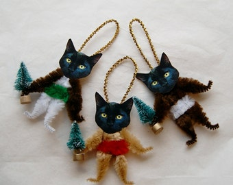 Cat Lover Gift, Primitivw Chenille  Ornaments, Black Cat Vintage Primitive Style, Christams Tree   (01)