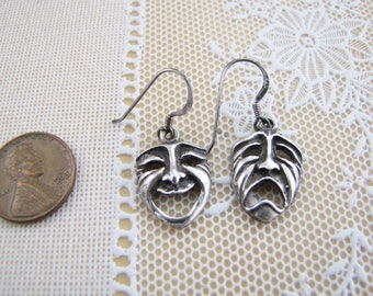 Theater Mask Face Sterling Silver Earrings