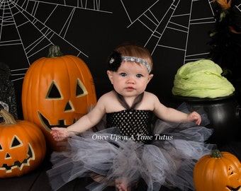 gray black tutu or dress little girls size 12m 2t 3t 4t 5t 6 baby newborn 3 6 9 12 18 months spooky neutral color halloween costume
