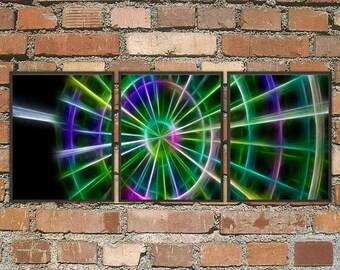 The Lighted Wheel abstract art print set, 3 panel art, contemporary art, large wall art, abstrat art, computer art print, gallery art, art