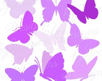 Butterfly Clipart, Purple Butterfly Clipart Silhouettes - Digital download, 10 Butterflies, Scrapbook, Card Making -Personal/Commercial Use
