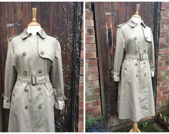 "vtg 1970s 1980s Belted Long TRENCH COAT in Beige Tan by St.Michael // uk 14 petite fit // 36"" bust"