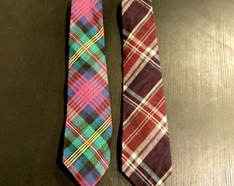 Vintage Pair of Rooster Cotton Plaid Neckties