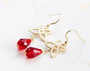 Red Drop Gold Flower Earrings Floral Dangle Ruby Teardrop Earrings Flower Jewelry Floral Jewellery - E168