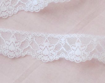 White Flat Edging Lace 2.72 Yards/2.49 meters of 1 Inch/2.54 cm Wide Lace - LRW-19