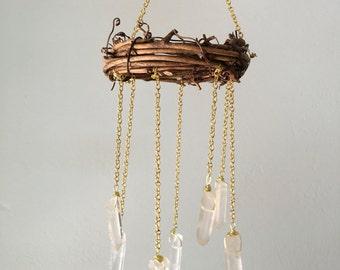 Boho Suncatcher- Rear View Mirror Charm- Tiny Chandelier- Locker Chandelier- Bohemian Wedding Decor- Office Chandelier
