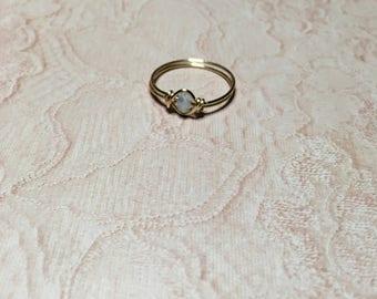 Milky blue crystal ring