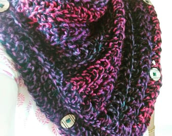 Handmade multicolored Crochet Cowl with wooden buttons