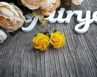 Polymer clay roses earrings, yellow roses, handmade earrings, sunny yellow earrings, beautiful jewelry, gift for her, gift idea, clay roses.