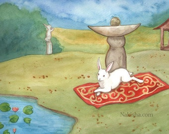 RESERVED for LS - Original Art - The Garden - Watercolor Rabbit Painting