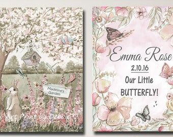FREE SHIPPING SPECIAL!- Butterfly And Flowers Canvas Wall Art, Set Of 2 Museum Wrapped Canvases, Personalized Baby Girl Gift, Blush Pink