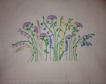 Organic Cotton Large 30x30 Flour Sack Dish Towel Wildflower Embroidery