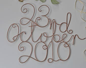 Special Date Sign, Gift for mum, Personalised Sign, Custom Sign, Wedding Date Sign, Milestone Date, Personalized Sign, Wire Signs, Copper