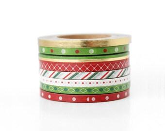 Christmas Holiday Gold Foil Super Slim Extra Thin Skinny Washi Tape
