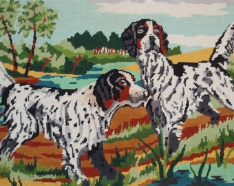 Vintage French needlepoint tapestry - Hunting dogs
