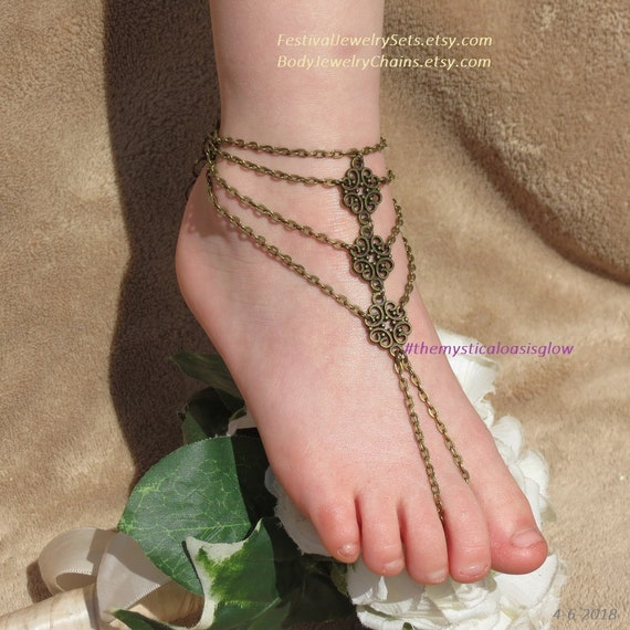 701d3ab762ef toe wedding barefoot sandals beach wedding ring foot barefoot anklet  jewelry barefoot Chain shoes gypsy sandals beach sandal wedding Y1wUqX1xa