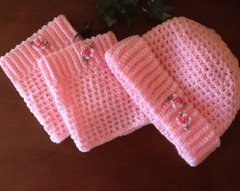 Pink Hat and Bootcuff set
