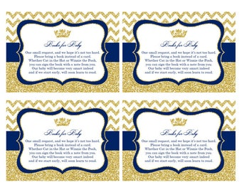 Prince Baby Shower Book Cards, Printable PDF