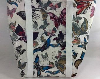 Butterfly tote bag, large tote bag, shoulder bag, girls bag, Grocery bag, shopping bag, colourful bag, canvas tote bag, book bag ,