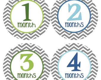 Monthly Baby Stickers Baby Month Stickers Boy Blue Green Chevron INSTANT DOWNLOAD Printable Stickers Boy Baby Shower Gift Photo Prop - Jerry