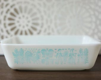 Vintage Pyrex 503 Amish Butterprint Refrigerator Dish Turquoise