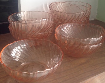 Glass depression glass bowls pink, ice cream, Salad bowls bowls
