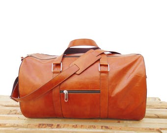 Mens & Womens Caramel Brown Leather Duffel Bag Luggage Bag ,Weekend Bag, Personalized Engraved gift Bag