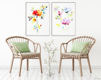 Abstract watercolor, watercolor flowers, print set of 2, flower painting, flower art print,  colorful flower art, watercolor flower