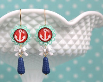 Anchor Lace Earrings Red Pinup cabochon White