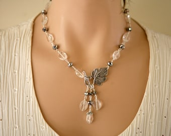 Clear Rock Quartz Necklace, Front Closure, Dangling Necklace, Silver and Clear Necklace, Quartz Necklace Set,