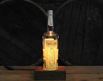 Colonel E.H. Taylor Barrel Proof - Features Reclaimed Wood Base, Edison Bulb, Twisted Cloth Wire, In line Switch, And Plug, Handmade Light