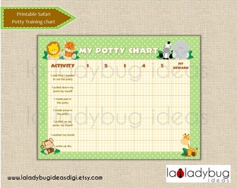 Safari potty training chart. Printable potty training chart for boys or girls. African friends, jungle animals. Instant download. JPEG File.