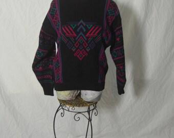 Vintage Womens Geometric Aztec  Pullover Ski Sweater - Size Small