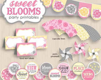 SWEET BLOOMS Birthday Party Printable Package in Pink, CreamvYellow, and Gray- Instant Editable Download