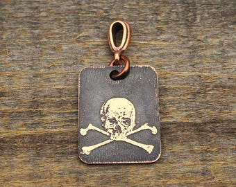 Skull and crossbones pendant, small flat rectangular etched copper pirate jewelry, optional necklace, 25mm