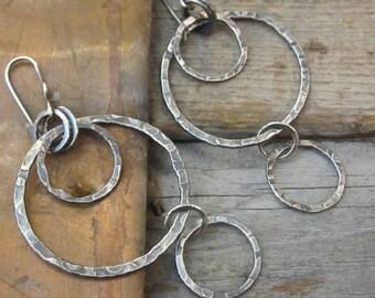 Bubbles Oxidized Sterling Silver Earrings