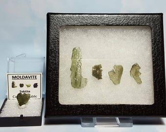 MOLDAVITE LOVE Tektite Meteorite Extrarerrestrial Writing Display With Genuine Impact Glass From Czech Republic Souvenir LOVE Set